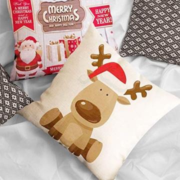 HIQE-FL 4 Stück Weihnachten Dekokissen,Sofakissen Hirsch,Weihnachts Kissenbezüge,Kissenbezüge Frohe Weihnachten für Sofa Auto Büro Bett Zuhause Wohnzimmer - 6
