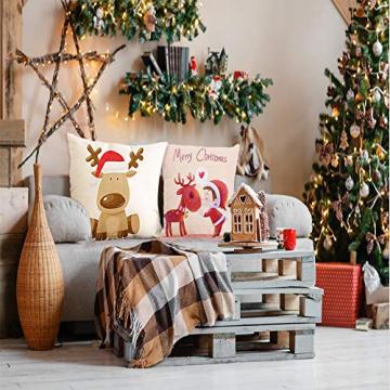 HIQE-FL 4 Stück Weihnachten Dekokissen,Sofakissen Hirsch,Weihnachts Kissenbezüge,Kissenbezüge Frohe Weihnachten für Sofa Auto Büro Bett Zuhause Wohnzimmer - 7