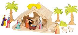 Holztiger Puppenhaus mit Weihnachtsstern (ohne Figuren, ohne Bäume) - 1