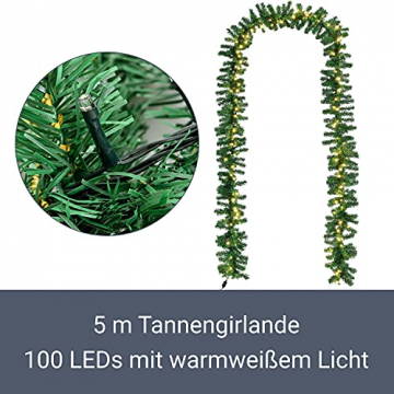 Juskys Weihnachtsgirlande 5m künstlich mit Beleuchtung – Lichterkette mit 100 LED warm-weiß IP44 - Tannengirlande für Innen & Außen – Weihnachtsdeko - 4