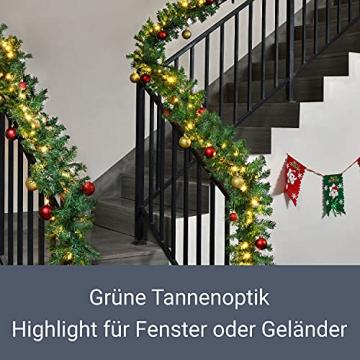 Juskys Weihnachtsgirlande 5m künstlich mit Beleuchtung – Lichterkette mit 100 LED warm-weiß IP44 - Tannengirlande für Innen & Außen – Weihnachtsdeko - 5