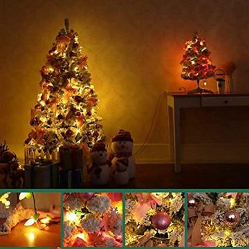 JYHZ Weihnachtsdekoration, Schneeflocke/Beflockung Weihnachtsbaum, Hochwertige Kunst Weihnachten Kiefer Mit Reißverschluss-Dekorationen, Mit LED Lichter Und Dekorationen 600 Tip-grün 6 Feet (180 cm) - 5