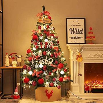 JYHZ Weihnachtsdekorationen, künstliche Weihnachtsbaumdekorationen, Fichte angelenkter Weihnachtsbaum mit Metallhalterungen, geeignet for den Innenhof (Farbe: rot, Größe: 6 Fuß (180 cm)) - 2