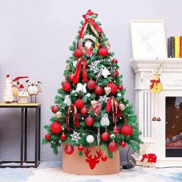 JYHZ Weihnachtsdekorationen, künstliche Weihnachtsbaumdekorationen, Fichte angelenkter Weihnachtsbaum mit Metallhalterungen, geeignet for den Innenhof (Farbe: rot, Größe: 6 Fuß (180 cm)) - 1