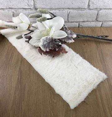 Kreaboo Fellband Kunstfell Tischband Tischläufer Dekoband Fell für Weihnachten Dekoration Basteln (15cm x 2m – Weiß) - 2