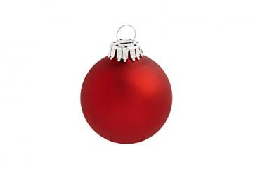 Krebs & Sohn 20er Set Glas Christbaumkugeln-Weihnachtsbaum Deko zum Aufhängen-Weihnachtskugeln 5,7 cm-Bordeaux, Rot/Sterne, (5,7cm Ø Durchmesser) - 6