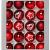 Krebs & Sohn 20er Set Glas Christbaumkugeln-Weihnachtsbaum Deko zum Aufhängen-Weihnachtskugeln 5,7 cm-Bordeaux, Rot/Sterne, (5,7cm Ø Durchmesser) - 1