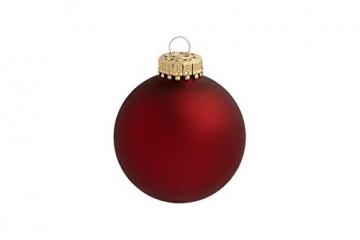 Krebs & Sohn 20er Set Glas Christbaumkugeln-Weihnachtsbaum Deko zum Aufhängen-Weihnachtskugeln 5,7 cm-Bordeaux, Rot/Sterne, (5,7cm Ø Durchmesser) - 7