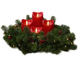 Künstlicher Adventskranz mit Lichterkette und 4 LED Kerzen | Batteriebetrieben | Sicher in der Anwendung | Tannenkranz mit Zapfen und Beeren | Ø 40cm - 1