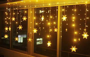 LED Lichterkette, Schneeflocke Fenster, Weihnachtsbeleuchtung Innen Warmweiß für Weihnachten Geburtstag Party Hochzeit, 94er LEDs Lichtervorhang Außen IP44 24V Niederspannung 8 Modi 3,6M x 1M - 2