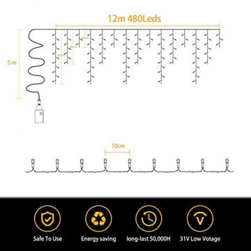 LED Lichtervorhang,12M 480 Led PECCIDER 8 Modi Lichterkette Eisregen Vorhang strombetrieben,Lichterkette außen&innen, Schlafzimmer Hochzeit Weihnachten Party (Warmweiß) - 3