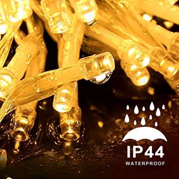 LED Lichtervorhang,12M 480 Led PECCIDER 8 Modi Lichterkette Eisregen Vorhang strombetrieben,Lichterkette außen&innen, Schlafzimmer Hochzeit Weihnachten Party (Warmweiß) - 5