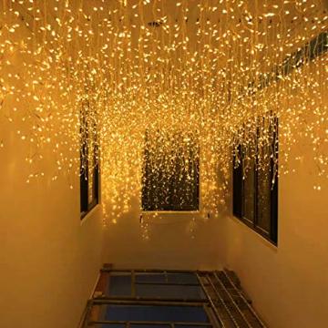 LED Lichtervorhang,12M 480 Led PECCIDER 8 Modi Lichterkette Eisregen Vorhang strombetrieben,Lichterkette außen&innen, Schlafzimmer Hochzeit Weihnachten Party (Warmweiß) - 6