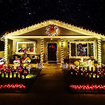 LED Lichtervorhang,12M 480 Led PECCIDER 8 Modi Lichterkette Eisregen Vorhang strombetrieben,Lichterkette außen&innen, Schlafzimmer Hochzeit Weihnachten Party (Warmweiß) - 7