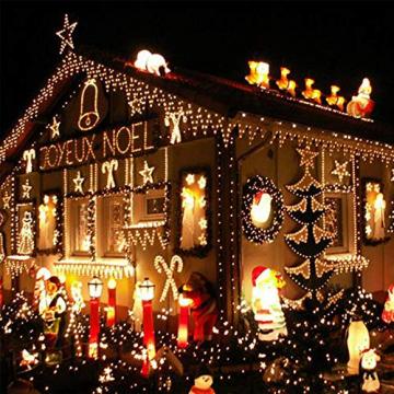 LED Lichtervorhang,12M 480 Led PECCIDER 8 Modi Lichterkette Eisregen Vorhang strombetrieben,Lichterkette außen&innen, Schlafzimmer Hochzeit Weihnachten Party (Warmweiß) - 8