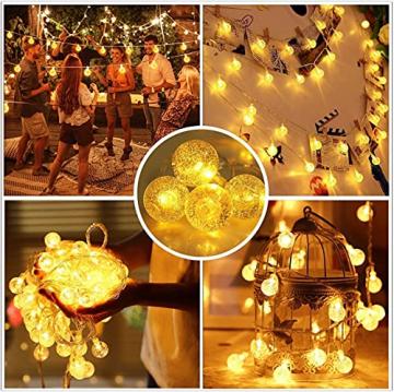 Lichterkette Außen 7.2M 50 LED Warmweiße Lichterkette Aussen mit USB Stecker 8 Modi Wasserdichte Kugel Lichterkette für Innen Dekoration Feste Garten Party Außen Balkons Weihnachten Terrasse - 2