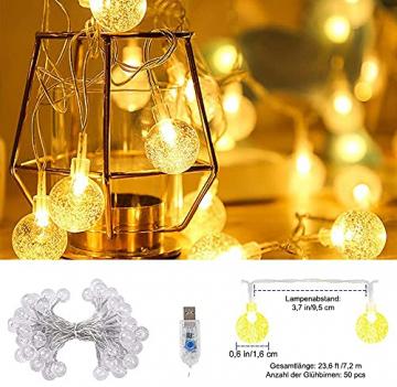 Lichterkette Außen 7.2M 50 LED Warmweiße Lichterkette Aussen mit USB Stecker 8 Modi Wasserdichte Kugel Lichterkette für Innen Dekoration Feste Garten Party Außen Balkons Weihnachten Terrasse - 4