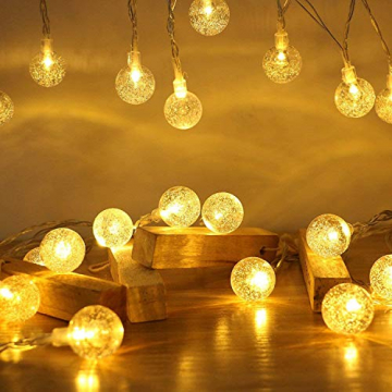 Lichterkette Außen 7.2M 50 LED Warmweiße Lichterkette Aussen mit USB Stecker 8 Modi Wasserdichte Kugel Lichterkette für Innen Dekoration Feste Garten Party Außen Balkons Weihnachten Terrasse - 1
