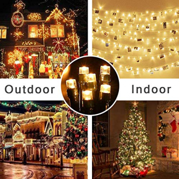 Lichterkette Weihnachtsbaum, LED Lichterkette mit 300 LED in warm weiß, 8 Leuchtmodi Dimmbar, EU Stecker, IP44 Wasserdicht, Lichterkette für Party, Feier, Hochzeit, Weihnachtsschmuck, Innen und Außen - 6