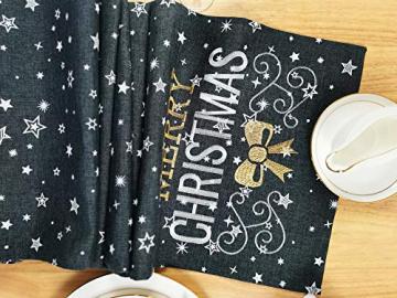 Lifestyle Tischläufer Weihnachten   Hochwertige Tischdecke, dunkelgrau in schicker Farbkombination 40x140 cm   Weihnachtsdeko Tisch Sterne