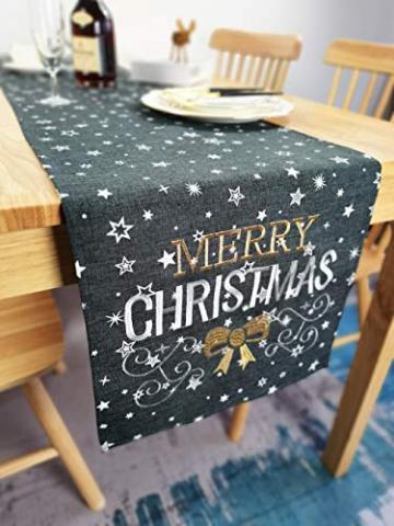 """Lifestyle Tischläufer Weihnachten   Hochwertige Tischdecke, dunkelgrau in schicker Farbkombination 40x140 cm   Weihnachtsdeko Tisch Sterne """"Merry Christmas"""" Elegance   Fleckschutz und abwaschbar - 1"""