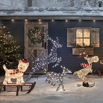 Lights4fun 50er LED Elch skifahrender Elch Weihnachtselch Weihnachtsbeleuchtung Außen Weihnachtsfigur mit Timer - 2