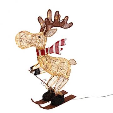 Lights4fun 50er LED Elch skifahrender Elch Weihnachtselch Weihnachtsbeleuchtung Außen Weihnachtsfigur mit Timer - 3