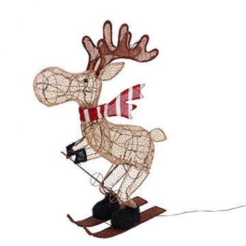 Lights4fun 50er LED Elch skifahrender Elch Weihnachtselch Weihnachtsbeleuchtung Außen Weihnachtsfigur mit Timer - 4