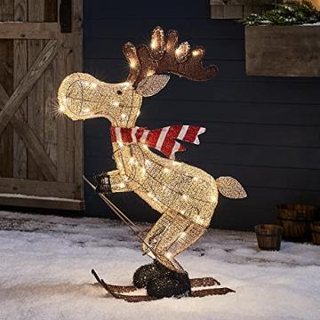 Lights4fun 50er LED Elch skifahrender Elch Weihnachtselch Weihnachtsbeleuchtung Außen Weihnachtsfigur mit Timer - 1