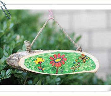 Liuer Rund Natur Holzscheiben 3PCS Holz Log Scheiben mit Baumrinde Unbehandeltes DIY Handwerk Dekoration Holz Tischdeko Hochzeits Weihnachten Baum Anhänger (1CM Dicke) - 4