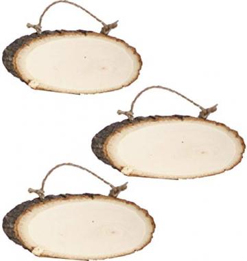 Liuer Rund Natur Holzscheiben 3PCS Holz Log Scheiben mit Baumrinde Unbehandeltes DIY Handwerk Dekoration Holz Tischdeko Hochzeits Weihnachten Baum Anhänger (1CM Dicke) - 1