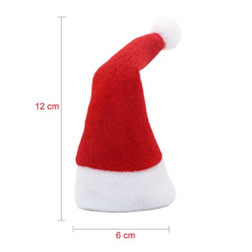 LOOGI Santa Hut Schal Mini Weihnachten Besteckhalter Weihnachtsdeko Bestecktasche Weihnachtsmütze Tischdeko 10 Stück - 2