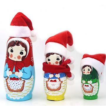 LOOGI Santa Hut Schal Mini Weihnachten Besteckhalter Weihnachtsdeko Bestecktasche Weihnachtsmütze Tischdeko 10 Stück - 5