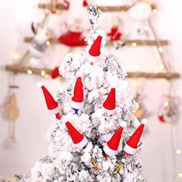 LOOGI Santa Hut Schal Mini Weihnachten Besteckhalter Weihnachtsdeko Bestecktasche Weihnachtsmütze Tischdeko 10 Stück - 6
