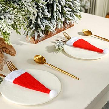 LOOGI Santa Hut Schal Mini Weihnachten Besteckhalter Weihnachtsdeko Bestecktasche Weihnachtsmütze Tischdeko 10 Stück - 7