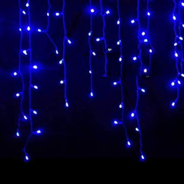 Luccase LED Vorhang Lichte 5 x 0,8 m 216 LED Wasserdichtes Lichterketten Lcicle Light Ausziehbares Licht mit Funkelndem Vorhang Fenster Dekor Weihnachtslicht (Blau) - 1