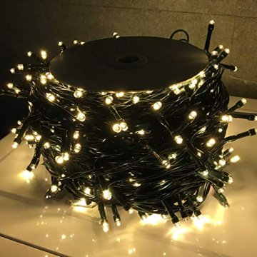 LZQ LED Lichterkette Außen Innen Wasserdicht IP44 Weihnachtsbeleuchtung mit 8 Leuchtmodi - für Innen Außen Garten Party Deko (80M 800 LED Warmweiß) - 5