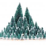 MELLIEX 60 Stück Miniatur Weihnachtsbaum Künstlicher Mini Modell Weihnachtsbaum Kunststoff Winter Ornamente für Tischdeko, DIY, Schaufenster - 1