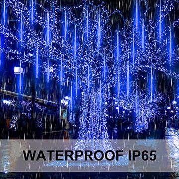 Meteorschauer Regen Lichter, 480 LEDs 50cm 10 Röhren Meteorschauer Lichterkette Außen, IP65 Wasserdichte Schneefall Lichterkette, Fallende Lichter für Außen balkon Garten Weihnachten Dekoration - 3