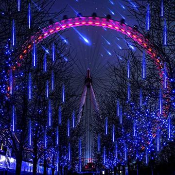 Meteorschauer Regen Lichter, 480 LEDs 50cm 10 Röhren Meteorschauer Lichterkette Außen, IP65 Wasserdichte Schneefall Lichterkette, Fallende Lichter für Außen balkon Garten Weihnachten Dekoration - 4