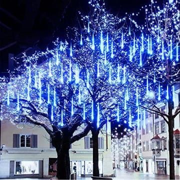 Meteorschauer Regen Lichter, 480 LEDs 50cm 10 Röhren Meteorschauer Lichterkette Außen, IP65 Wasserdichte Schneefall Lichterkette, Fallende Lichter für Außen balkon Garten Weihnachten Dekoration - 1