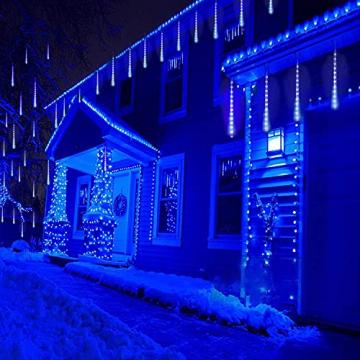 Meteorschauer Regen Lichter, 480 LEDs 50cm 10 Röhren Meteorschauer Lichterkette Außen, IP65 Wasserdichte Schneefall Lichterkette, Fallende Lichter für Außen balkon Garten Weihnachten Dekoration - 6