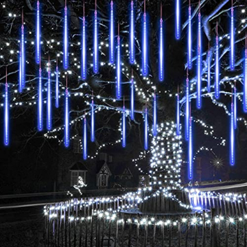 Meteorschauer Regen Lichter, 480 LEDs 50cm 10 Röhren Meteorschauer Lichterkette Außen, IP65 Wasserdichte Schneefall Lichterkette, Fallende Lichter für Außen balkon Garten Weihnachten Dekoration - 7