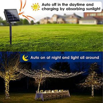 NEXVIN Solar Lichterkette Außen, 20M 200 LED Solar Lichterkette Aussen Wasserdichte, 8 Modi Solar Lichterkette Warmweiß für Garten, Terrasse, Balkon Deko - 3