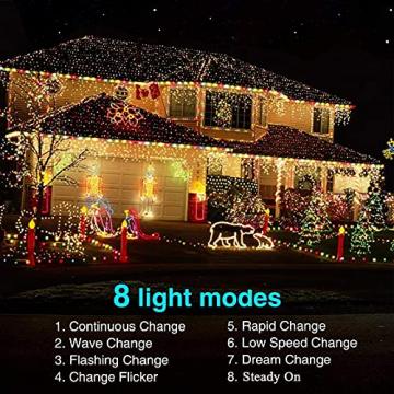 NEXVIN Solar Lichterkette Außen, 20M 200 LED Solar Lichterkette Aussen Wasserdichte, 8 Modi Solar Lichterkette Warmweiß für Garten, Terrasse, Balkon Deko - 6