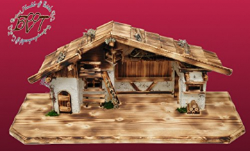 ÖLBAUMKRIPPE LED-beleuchtet -Weihnachtskrippe,XXL Holz-Krippe Weihnachten-Wurzelkrippen, mit Premium-DEKOSET mit Krippen-Tieren Schafe und Ziegen, MASSIVHOLZ - 3