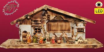 ÖLBAUMKRIPPE LED-beleuchtet -Weihnachtskrippe,XXL Holz-Krippe Weihnachten-Wurzelkrippen, mit Premium-DEKOSET mit Krippen-Tieren Schafe und Ziegen, MASSIVHOLZ - 1