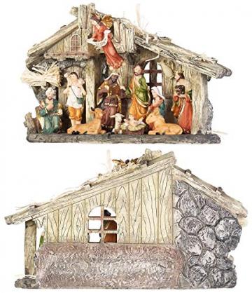 PEARL Krippen: Weihnachtskrippe aus Polyresin mit 11 handbemalten Figuren (Krippe Weihnachten) - 4