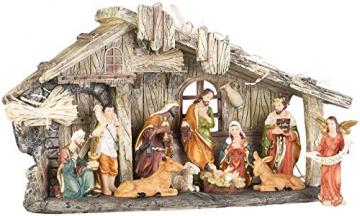 PEARL Krippen: Weihnachtskrippe aus Polyresin mit 11 handbemalten Figuren (Krippe Weihnachten) - 7