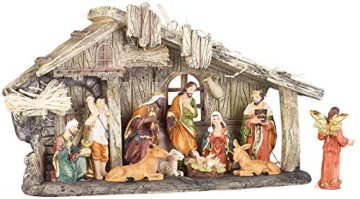 PEARL Krippen: Weihnachtskrippe aus Polyresin mit 11 handbemalten Figuren (Krippe Weihnachten) - 8